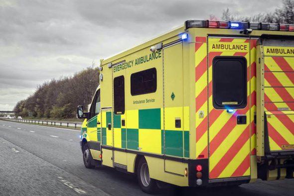 Ambulance driving on motorway